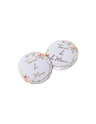2 Badges aquarelle témoin de la mariée/témoin du marié dorés 5 cm