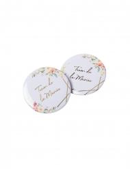 2 Badges aquarelle team de la mariée doré 5 cm