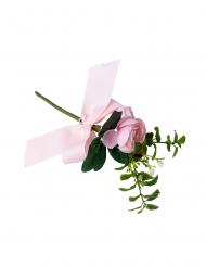 Branche de pivoines roses et feuillages avec ruban 20 cm