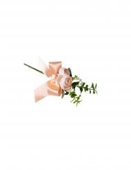 Branche de pivoines rose clair et feuillages avec ruban 20 cm