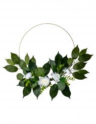 Couronne de pivoines blanches, laurier et eucalyptus métal doré 30 cm