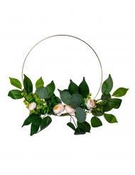 Couronne de pivoines roses, laurier et eucalyptus métal doré 30 cm