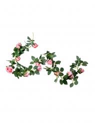 Guirlande de roses roses et feuillages 1,80 m