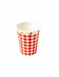 8 Gobelets en carton guinguette vichy rouge et dorure 255 ml