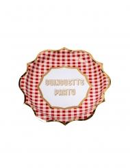 8 Assiettes en carton guinguette vichy rouge et dorure 23 cm