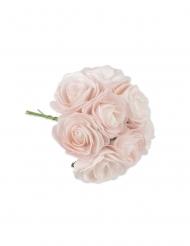 8 Roses sur tige en mousses roses 8 x 15 cm