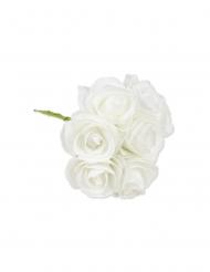 8 Roses sur tige en mousses blanches 8 x 15 cm