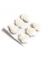 6 Roses sur pince blanches 3 x 3,5 cm