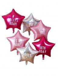 6 Ballons en aluminium étoiles personnalisables roses 45 cm