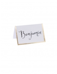 10 Marques places en carton blancs dorure 7 x 7 cm