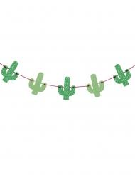 Guirlande en bois cactus verts 1,5 m 8 x 10 cm