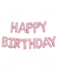 13 Ballons en aluminium lettres happy birthday roses 40 cm