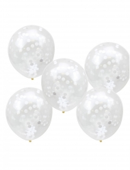5 Ballons en latex transparents confettis blancs 30 cm