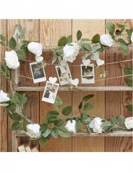 Guirlande de roses artificielles blanches 2 m 13 x 13 cm