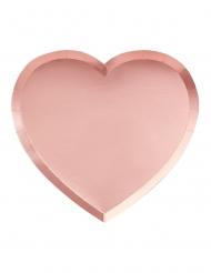 8 Assiettes en carton forme de cœur roses 21 x 19 cm