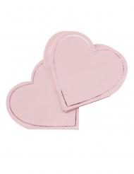16 Serviettes en papier forme de cœur roses 18 x 17,5 cm
