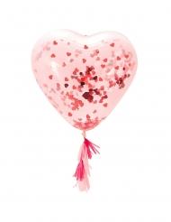 Ballon en latex géant transparent cœur confettis rouges 91 cm