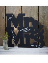 Livre d'or en bois ardoise Mr & Mrs noir 40 x 35 cm
