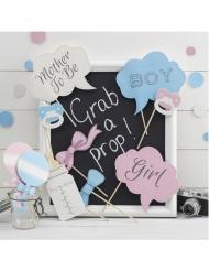 Kit photobooth baby shower bleu et rose 10 accessoires
