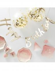 Kit complet déco et vaisselle anniversaire rose et doré 70 pièces