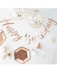 Kit complet déco et vaisselle anniversaire rose gold 70 pièces