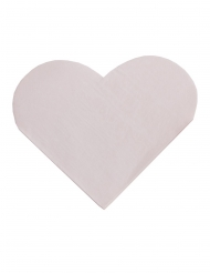 16 Serviettes en papier forme de cœur roses pastel 33 cm