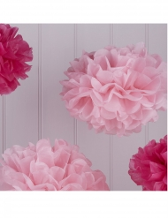 5 Pompons en papier de soie roses et fuchsia 32,5 et 25,5 cm
