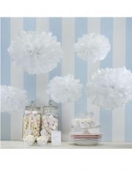 5 Pompons en papier de soie blancs 32,5 et 25,5 cm