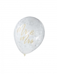 5 Ballons en latex transparents Mr & Mrs dorés 30 cm