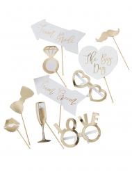 Kit photobooth mariage doré métallisé 10 accessoires