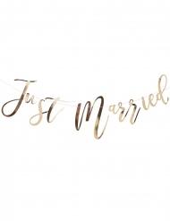 Guirlande en carton just married dorée métallisée 25 cm x 1,5 m