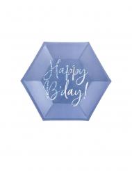 6 Assiettes en carton bleues happy b'day iridescent 20 cm