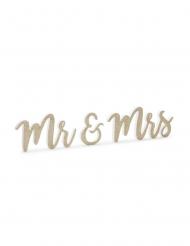 Décoration en bois Mr & Mrs dorée pailletée 50 x 10 cm