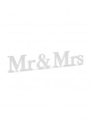 Décoration en bois Mr & Mrs blanche 50 x 9,5 cm