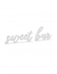 Décoration en bois sweet bar blanche 37 x 10 cm