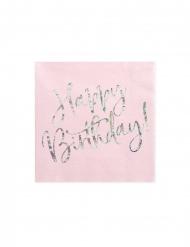 20 Serviettes en papier roses happy birthday iridescent 33 x 33 cm