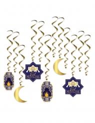 12 Suspensions en spirales eid mubarak bleues et dorées 38 - 71 cm