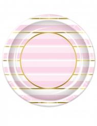 8 Assiettes en carton à rayures roses et blanches 23 cm