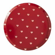 8 Assiettes en carton petits cœurs rouges 25 cm