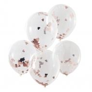 5 Ballons en latex transparent confettis cœurs roses gold 30 cm