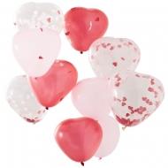 10 Ballons en latex cœurs roses, rouges et transparents confettis 30 cm