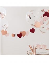 Guirlande en carton cœurs rouges, roses et roses gold 2 m