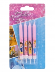 4 Bougies d'anniversaires Princesses Disney™ roses 9 cm