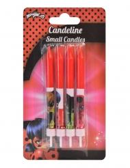 4 Bougies d'anniversaires Ladybug™ rouges 9 cm