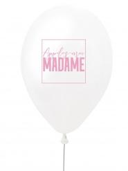 Ballon en latex appelez-moi madame blanc et rose 27 cm