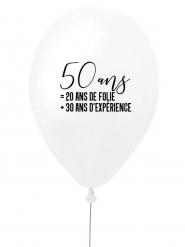 Ballon en latex 50 ans blanc et noir 27 cm