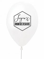 Ballon en latex joyeux anniversaire blanc et noir 27 cm