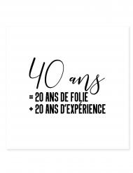Tatouage éphémère 40 ans = 20 ans de folie + 20 ans d'expérience 80 x 80 mm