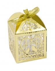 10 Boîtes en carton coeur et colombes doré métallisé 5 x 7,5 cm