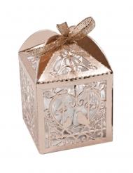10 Boîtes en carton cœur et colombes rose gold 5 x 7,5 cm